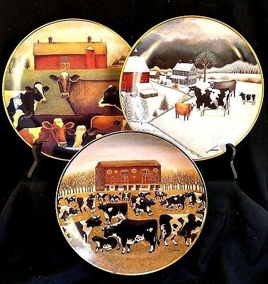 3 Porcelain PLATE Lowell Herrero Cow America Folk Art Collection by Franklin
