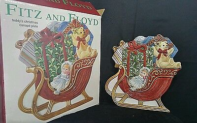 FF Fitz & Floyd Teddy's Christmas Canape Decorative Hanging Plate Dish Platter