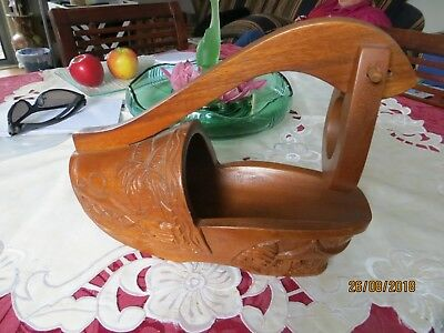 Vintage Wooden Clog Wine Bottle Holder