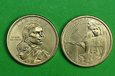 2014- P&D BU Mint State (Native American/Sacagawea) US One Dollars (2 Coins)