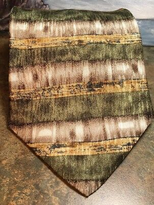 COCKTAIL COLLECTION Mens Tie NEW Striped Gold Silver 62L  100% Silk Made In USA