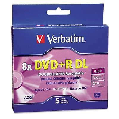 Verbatim® Dual-Layer DVD+R Discs, 8.5GB, 8x, w/Jewel Cases, 5/Pac 023942953111
