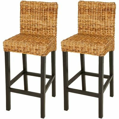 vidaXL Solid Mango Wood 2x Bar Stool Dark Brown Rattan Abaca Kitchen Chair