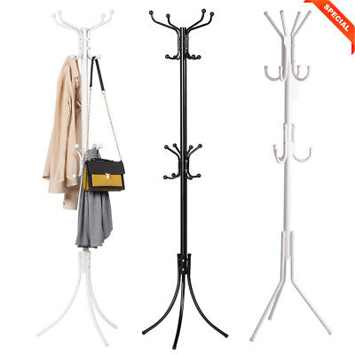 16 Hooks 4-Tier Coat Hanger Hat Umbrella Clothes Shoes Rack Tree Stand Metal