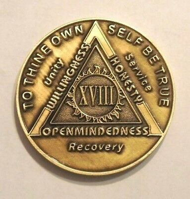 AA Bronze Alcoholics Anonymous 18 Year Sobriety Medallion Used Free USA Shipping