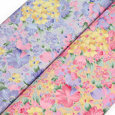 Cotton Print Fabric FQ Painting Flower Field Retro Dress Quilting Sew Craft VA70