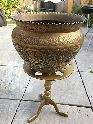 Antique Indian Brass Jardiniere - Brass planter, Art and craft, fully decorated