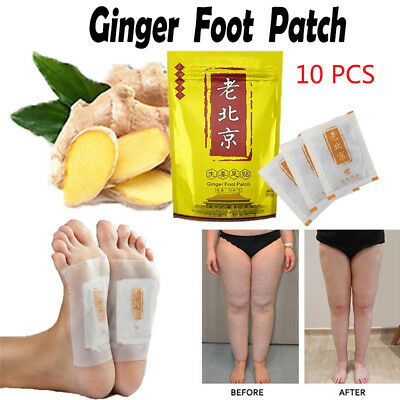10Pcs Anti-Swelling Ginger Foot Detox Patch Pads Improve Sleep Quality Slimming