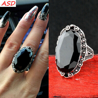 Vintage Oval Black Acrylic Carvings Pattern Antique Silver Ring Party Jewelry