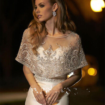 2018 Lace Bridal Bolero Womens Jacket Scoop Neck Tulle Cover up Top Beading New