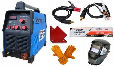 Welding SET Sherman Inverter MMA 220C ARC Welder IGBT Mask Electrodes Gloves