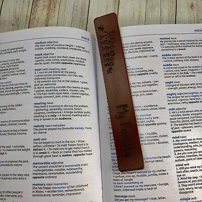 Personalised Bookmark Tan Brown Leather Genuine My Family Gift - Anniversary