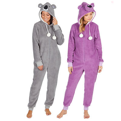 Womens Fleece 1Onesie Ladies Fluffy Bear Koala Pyjama Jumpsuit One Piece PJs UK