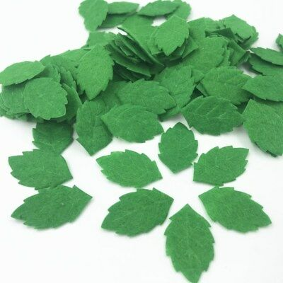 200pcs Green Leaves-shape Felt Card making decoration Sewing crafts 30mm