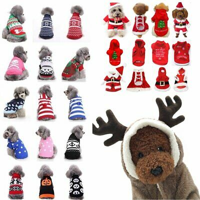 Christmas Dog Coat Puppy Jacket Sweater Pet Clothes Xmas Costume Outfit Apparel