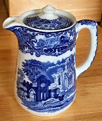 George Jones & Sons Abbey 1790 England Blue And White Water Jug Exc. Condition