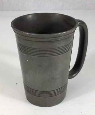 Antique Pewter Half Pint Measure Tankard Ribbed Bands 11cm In Height