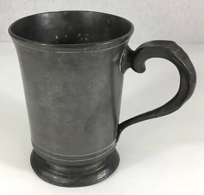 Antique Pewter Quart Measure Tankard. W.Rogers Hackney Initialed DS