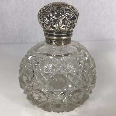 Antique Cut Glass Solid Silver Topped Perfume Bottle / Vanity Jar A/F 11cm