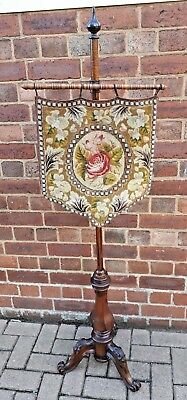 William IV/Early Victorian Rosewood Pole Screen Tapestry Floral Bead Work c1830