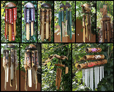 Large Handmade Fair Trade Coconut and Bamboo Wind Chimes - Various Designs