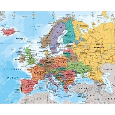 LAMINATED  Map of Europe  40cm x 50cm Educational