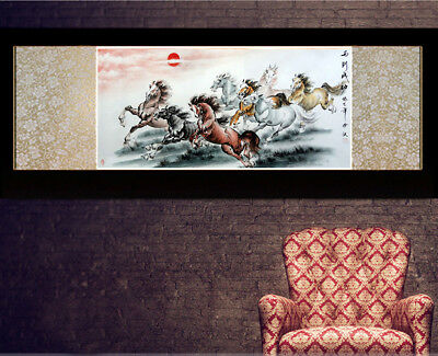 Chinese Silk Scroll Painting Horse Home Office Decoration(马到成功横款)