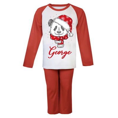 Personalised Winter Panda Pyjamas Boys Pjs Girls Custom Pyjamas Christmas Gift