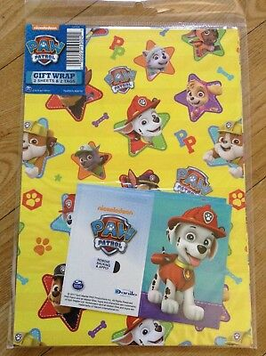 Paw Patrol Birthday Wrapping Paper Inc 2 Sheets Tags