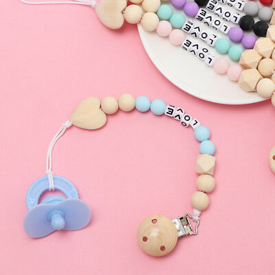Teether Infant Wooden Baby Pacifier Chain Nipple Soother Holder Dummy Clips