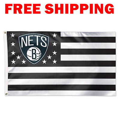 huge selection of 72d33 0e462 Deluxe Brooklyn Nets Stars Stripes Flag 2018 NBA Basketball Fan Banner 3X5  ft