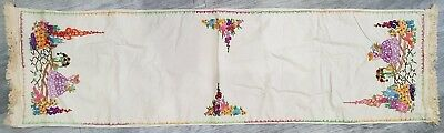 Vintage Table Runner Hand Embroidered Linen Cloth Flowers Crinoline Lady Garden