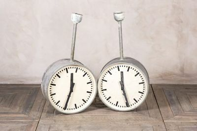 Vintage Ceiling Clock Industrial Factory Clocks By Pragotron Double-Faced