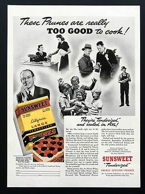 1939 Vintage Print Ad 30's SUNSWEET prunes apricots peaches image snack food