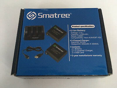 New - Smatree Replacement Gopro Hero 4 battery 2-Pack + 3-Channel charger - UK