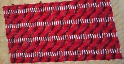 Modern Tapestry: Unique Handmade 'Red Stripe' Sampler
