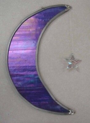 Stained Glass Moon And Crystal Star Suncatcher - Hand Made in Our Studio