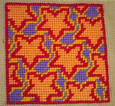 Mini Modern Tapestry: Unique Handmade 'Orange Stars' Sampler
