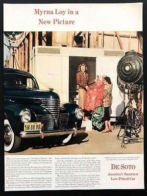 1939 Vintage Print Ad 30's DESOTO car image hollywood myrna loy film set