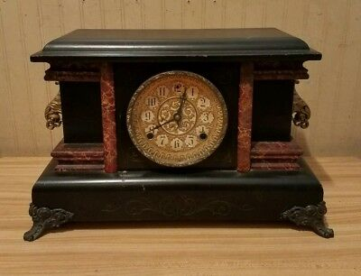Antique Sessions Wind-Up Wooden Mantel Clock with Key & Glass Face WORKING GREAT