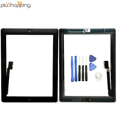TOUCH SCREEN APPLE IPAD 4 A1458 A1459 A1460 WiFi 3G VETRO NERO + TASTO HOME