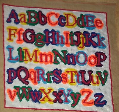 Modern Tapestry: Unique Handmade 'Alphabetti' Sampler
