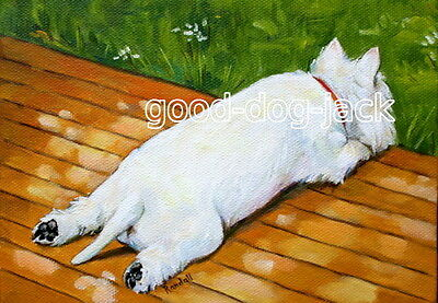 "West Highland Terrier ACEO WESTIE PRINT Painting ""SUNBATHING"" Dog Art RANDALL"