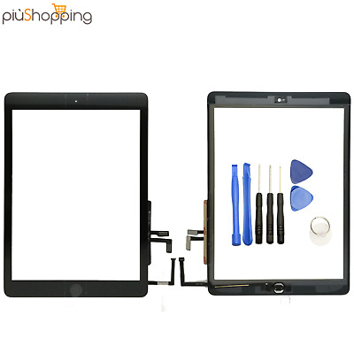 TOUCH SCREEN PER APPLE IPAD 5 AIR A1474 A1475 A1476 WiFi 3G VETRO NERO + TASTO