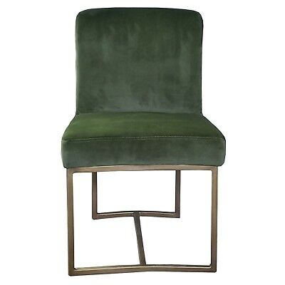 Green Velvet Dining Chair with Rustic Bronze/Gold Frame Artefac R-1552