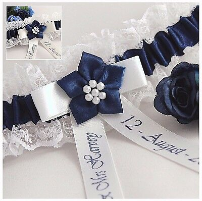 Personalised Bridal Garter.ivory Or White Lace With Navy Blue Satin Trim & Print