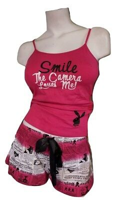 Playboy Pajamas 2Piece PJ Set Cotton TankTop Shorts Bottom Pink Papparazzi Large