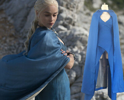 Cosplay Mother of Dragons Game of Thrones Daenerys Targaryen Costume Dress Blue