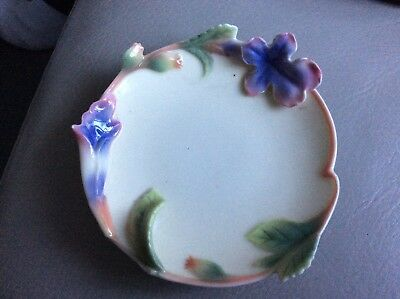 FRANZ PORCELAIN Morning Glory or purple flower Pin tray by Kuei Mei &Mei Hua
