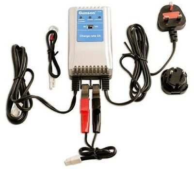 GUNSON TOOLS BATTERY CHARGER 6v 12v 2a LONG TERM TRICKLE CHARGE GEL AGM